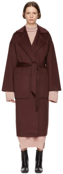 Nanushka Burgundy Wool Alamo Coat
