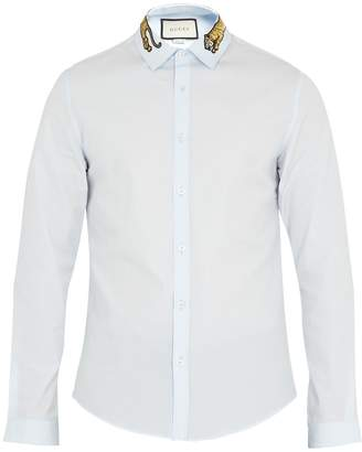 Gucci Duke tiger-appliqué point-collar cotton shirt