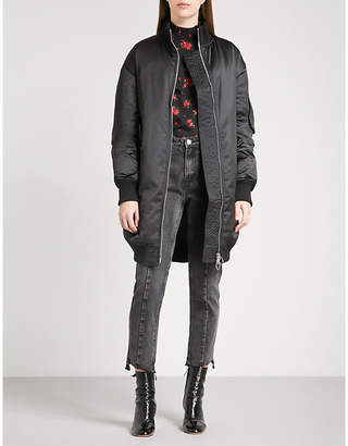 Mo&Co. Oversized satin quilted down-blend coat