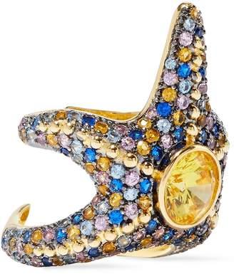 Noir Saboga Starfish 14-karat Gold-plated Crystal Ring