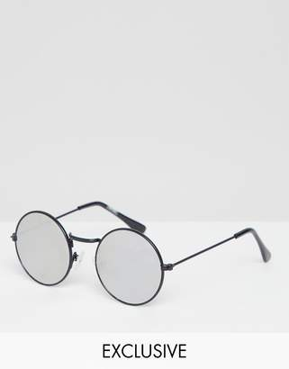 Reclaimed Vintage inspired round sunglasses with mirrored lens