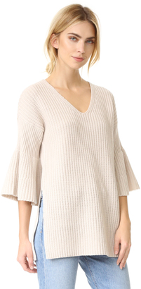 Derek Lam 10 Crosby V Neck Tunic Sweater with Bell Sleeves $495 thestylecure.com