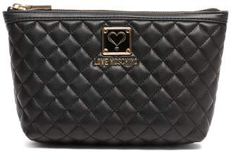 Love Moschino Black Quilted Cosmetic Bag
