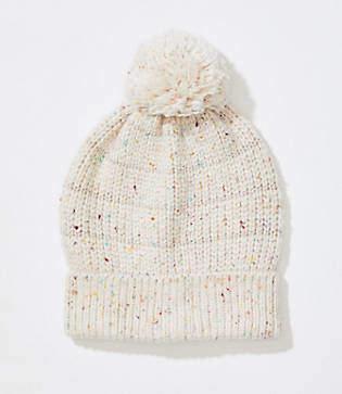 LOFT Stripe Embellished Faux Fur Pom Pom Hat