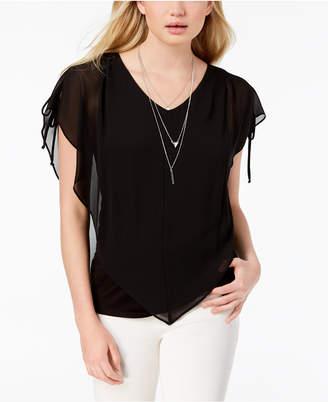 BCX Juniors' Split-Sleeve Necklace Top