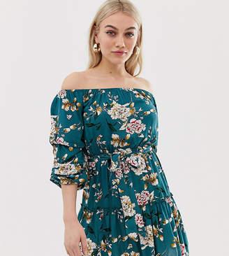 Parisian Petite off shoulder floral print dress with self tie belt