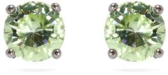 Bottega Veneta Cubic Zirconia And Sterling Silver Stud Earrings - Womens - Green