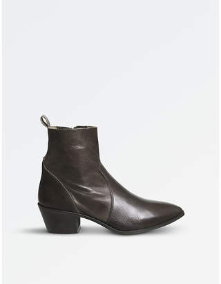 Office Auburn leather ankle boots