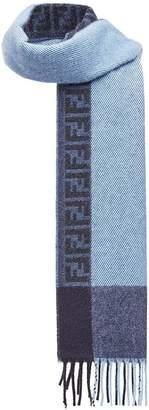 Fendi FF logo fringed scarf
