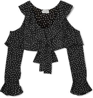 Raquel Diniz Lucy Cropped Cold-shoulder Polka-dot Silk-chiffon Top