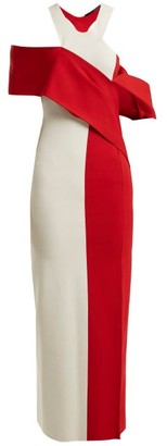 Haider Ackermann Draped Contrast Knit Dress - Womens - Red White