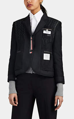 Thom Browne Women's Distressed wool Shrunken Blazer - Dark Gray