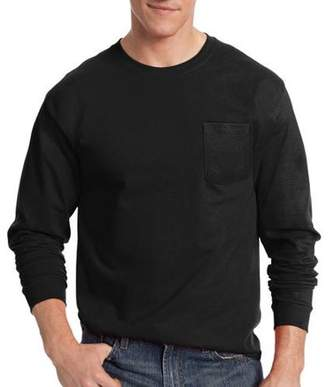Hanes Men's Tagless Cotton Long Sleeve Pocket Tshirt