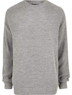 River Island Mens Big and Tall grey oversized fisherman sweater