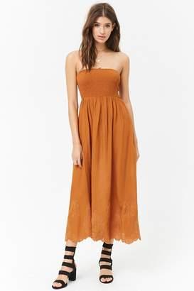 Forever 21 Smocked Embroidered Midi Dress