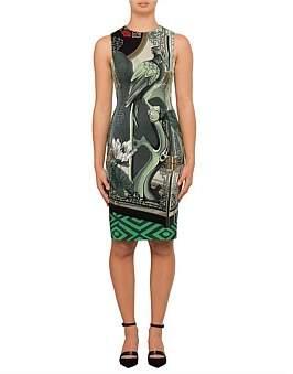 Versace S/L Stretch Cady Jade Mountains Print Dress