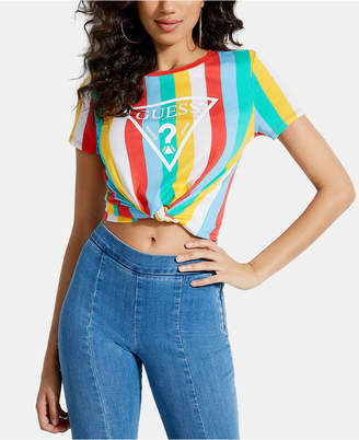 7066c577 GUESS Rainbow-Stripe Twist-Hem T-Shirt