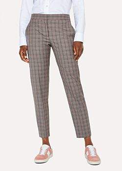 Paul Smith Women's Grey And Pink Check Wool Trousers