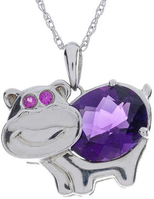 FINE JEWELRY Lab-Created Amethyst and Ruby Hippo Sterling Silver Pendant Necklace