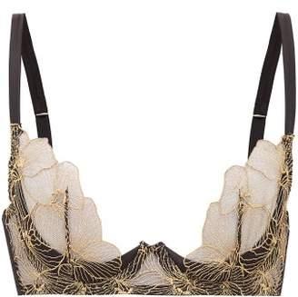 Coco de Mer Danae Embroidered Plunge Bra - Womens - Gold