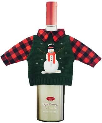 St Nicholas Square Snowman Sweater Wine Bottle Cover