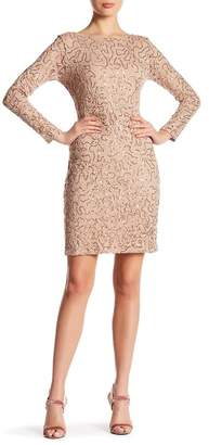 Marina Long Sleeve Lace Sequin Dress $119 thestylecure.com
