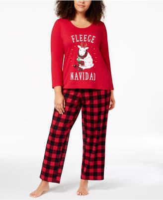 Matching Family Pajamas Plus Size Women's Fleece Navidad Pajama Set