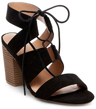 Merona Women's Harriet Wide Width Lace Up Heeled Quarter Strap Sandals $29.99 thestylecure.com