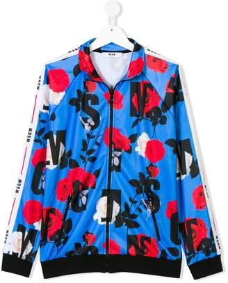 MSGM floral logo print jacket