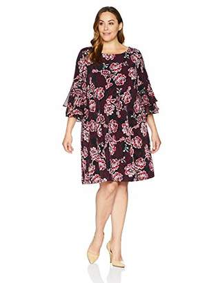 Sandra Darren Women's 1 PC Plus Size 3/4 Bell Sleeve Floral ITY A Line Dress