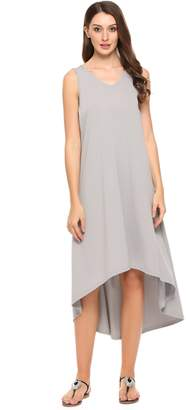 Meaneor Women Casual Sleeveless Solid V Neck Pullover Low-High Hem Maxi Dress