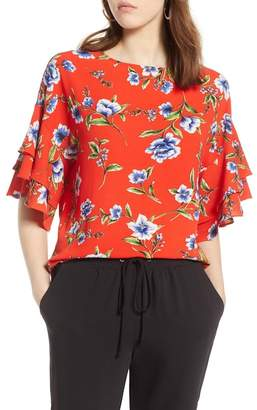 Halogen Ruffle Sleeve Print Top (Regular & Petite)