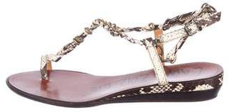 Lanvin Snakeskin Thong Sandals