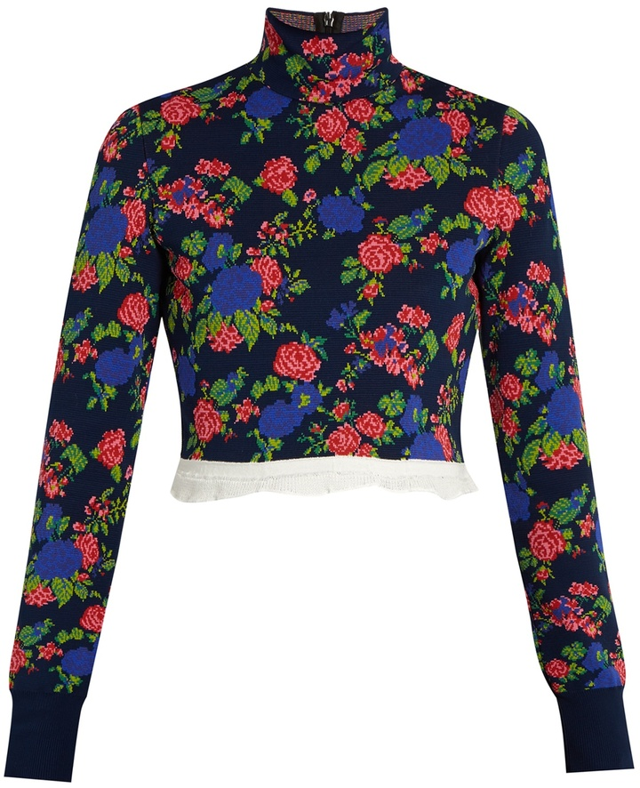 MSGM High-neck floral-knit cropped top