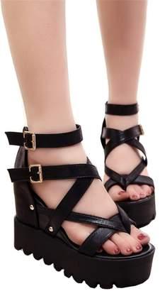 c4af7b5241f5a at Amazon Canada · ASjkfuhwuen Fashion Sandals Summer Wedges Women s  Sandals Platform Lace Belt Bow Flip Flops open toe high