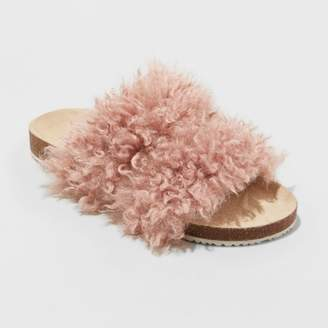 Universal Thread Women's Ember Two Band Faux Fur Slide Sandals