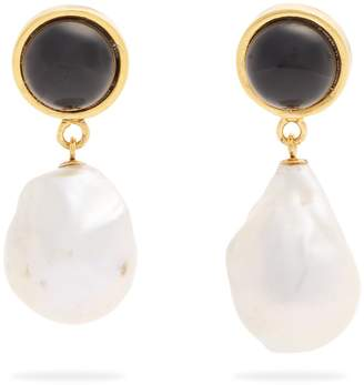 Tuxedo pearl-drop earrings