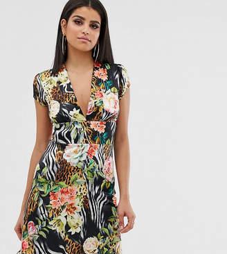 John Zack Tall mini tea dress in tropical print