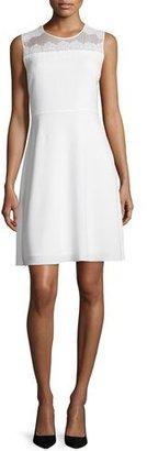 Elie Tahari Bevin Sleeveless Lace-Yoke Dress, Pearl $448 thestylecure.com