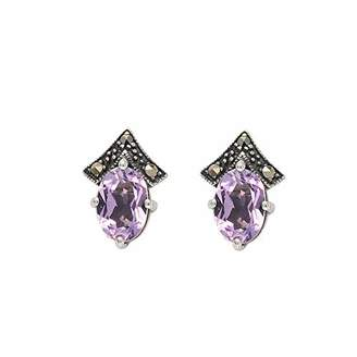 Esse Marcasite Sterling Silver Oval Cut Amethyst & Marcasite Wishbone Style Small Stud Earrings