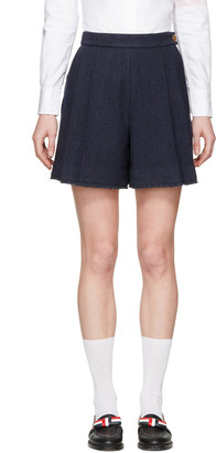 Thom Browne Navy Pleated Wool Shorts $990 thestylecure.com