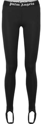 Palm Angels Intarsia-trimmed Stretch Stirrup Leggings - Black