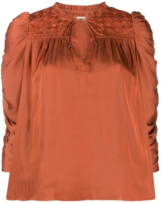 Ulla Johnson ruched puff sleeve blouse