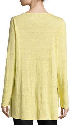 Eileen Fisher Bateau-Neck Organic Linen Jersey Top