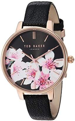Ted Baker Women's 'KATE' Quartz Stainless Steel and Leather Casual Watch, Color:Black (Model: TE50272003)