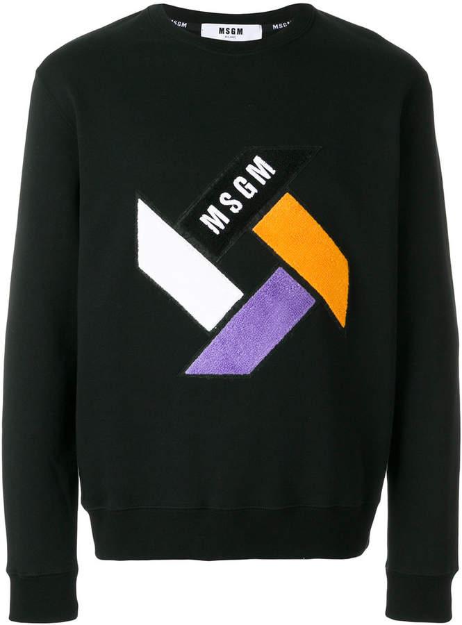 colour block patch sweatshirt