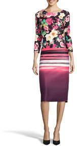 3/4 Sleeve Floral Sunset Sheath Knee-Length Dress