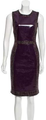 Raoul Patent Leather Paneled Tweed Dress