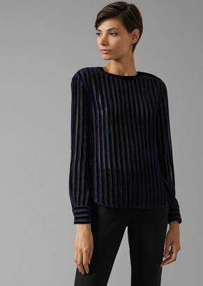 Giorgio Armani Blouse With Alternate Velvet And Voile Stripes