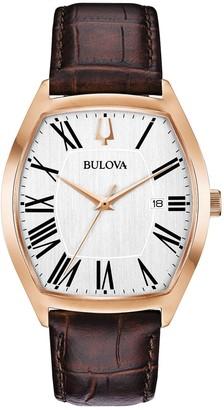 Bulova Men's Rosetone Classic Brown Leather Strap Watch